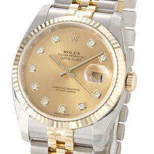 ロレックス ROLEX 116233 G デイトジャスト シャンパンゴールド ダイヤモンド10P メンズ 腕時計 ブランド 新品 送料無料