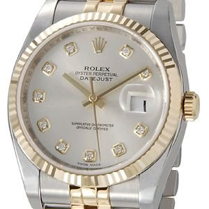 ロレックス ROLEX 116233 G-SV デイトジャスト シルバー ダイヤモンド10P メンズ 腕時計 ブランド 送料無料 新品