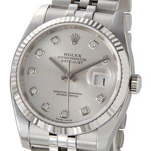 ロレックス ROLEX 116234 G デイトジャスト シルバー ダイヤモンド10P メンズ 腕時計|s-select