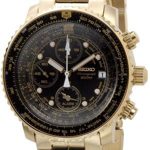 セイコー SEIKO SNA414P1 クロノグラフアラーム ブラック×ゴールド メンズ腕時計 セイコーウオッチ|s-select
