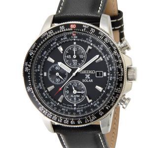 セイコー SEIKO SSC009P3 ソーラー フライトマスター パイロット アラーム クロノグラフ ブラック メンズ 腕時計|s-select