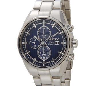 セイコー SEIKO オールチタン ソーラー クロノグラフ SSC365P1 軽量 チタンモデル ブルー 腕時計 メンズ|s-select