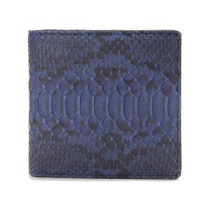 ヘビ革 二つ折り財布 ダイヤモンドパイソン 蛇革 ブルー ロダニア RODANIA エキゾチックレザー|s-select