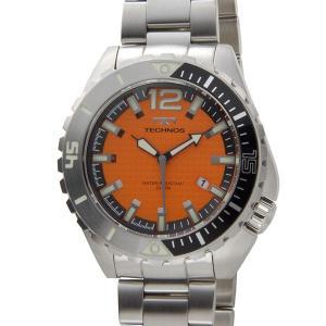 テクノス TECHNOS メンズ 腕時計 T4390SO クオーツ オールステンレス 限定モデル オレンジ  ブランド|s-select