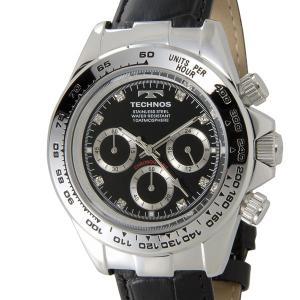 テクノス TECHNOS T4392LB クロノグラフ 24時間計 10気圧防水 ブラック×シルバー メンズ 腕時計|s-select