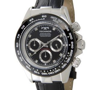 テクノス T4392LT TECHNOS クロノグラフ 24時間計 10気圧防水 ブラック×シルバー メンズ 腕時計|s-select