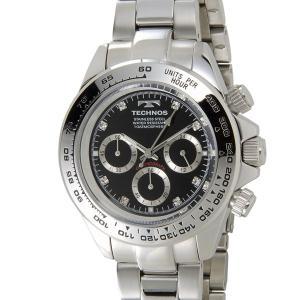 テクノス T4392SB TECHNOS クロノグラフ 24時間計 10気圧防水 ブラック×シルバー メンズ 腕時計|s-select
