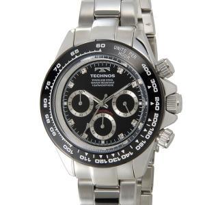 テクノス T4392TB TECHNOS クロノグラフ 24時間計 10気圧防水 ブラック×シルバー メンズ 腕時計|s-select