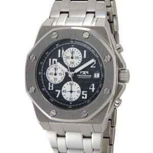 テクノス T4393SB TECHNOS クロノグラフ デイト 10気圧防水 八角形 ブラック×シルバー メンズ 腕時計【送料無料】|s-select