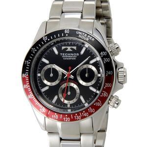 テクノス T4414SB TECHNOS クロノグラフ 24時間計 10気圧防水 ブラック×レッド メンズ 腕時計|s-select