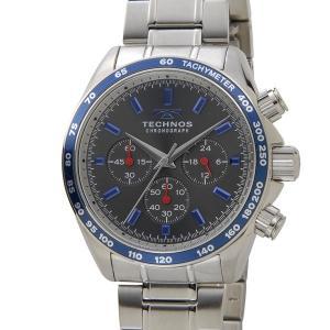 テクノス TECHNOS メンズ 腕時計 T4462NB クロノグラフ タキメーター グレー×ブルー|s-select