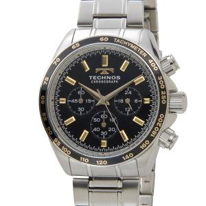 テクノス TECHNOS メンズ 腕時計 T4462NB クロノグラフ タキメーター ブラック×ゴールド|s-select