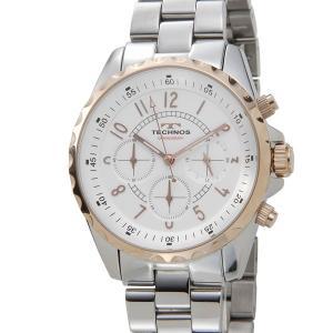 テクノス TECHNOS T9449SP クロノグラフ 24時間計 5気圧防水 シルバー×ピンクゴールド メンズ 腕時計|s-select