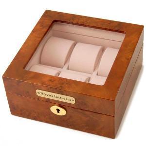 訳あり 塗装ムラ,小キズが数ヵ所ございます。ロイヤルハウゼン   腕時計 6本収納 ケース GC02-LG3-06 ウォッチケース ブラウン s-select