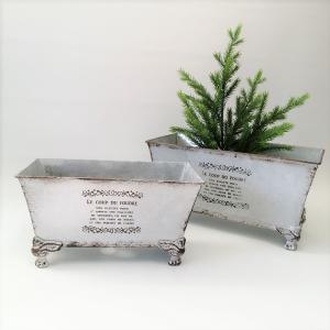鉢 プランター ブリキ ブリキポット バケツ 植木鉢 鉢カバー ガーデニング雑貨 カブリオールロングポットWH MT-5644 s-toolbox