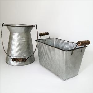 鉢 プランター ブリキ ブリキポット バケツ 植木鉢 鉢カバー ガーデニング雑貨 フラワーポットSET2 PL-634548 s-toolbox