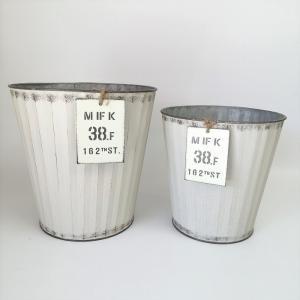 鉢 プランター ブリキ ブリキポット バケツ 植木鉢 鉢カバー ガーデニング雑貨 ウェイヴサークルSET2WH YZ-MH7656|s-toolbox