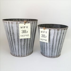 鉢 プランター ブリキ ブリキポット バケツ 植木鉢 鉢カバー ガーデニング雑貨 ウェイヴサークルSET2GY YZ-MH7689|s-toolbox