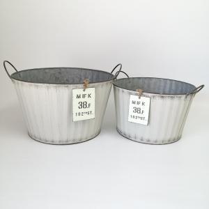 鉢 プランター ブリキ ブリキポット バケツ 植木鉢 鉢カバー ガーデニング雑貨 ウェイヴラウンドSET2WH YZ-MH7734 s-toolbox