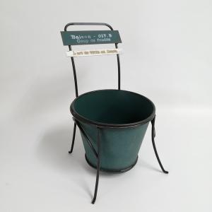 鉢 プランター ブリキ ブリキポット バケツ 植木鉢 鉢カバー ガーデニング雑貨 シェーズポットGR YZ-UN1144 s-toolbox