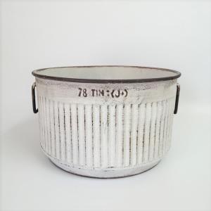 鉢 プランター ブリキ ブリキポット バケツ 植木鉢 鉢カバー ガーデニング雑貨 エタンラウンドWH YZ-UN1385 s-toolbox
