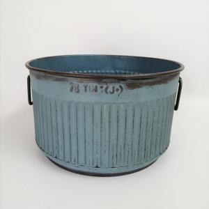 鉢 プランター ブリキ ブリキポット バケツ 植木鉢 鉢カバー ガーデニング雑貨 エタンラウンドBL YZ-UN1387|s-toolbox