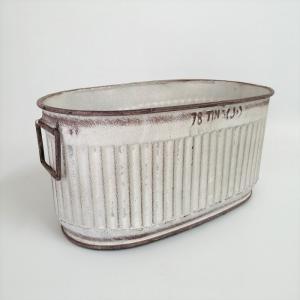 鉢 プランター ブリキ ブリキポット バケツ 植木鉢 鉢カバー ガーデニング雑貨 エタンオーバルWH YZ-UN1390|s-toolbox
