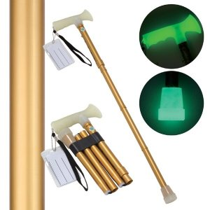折たたみ式ステッキ 杖ぼたる 〔ゴールド(金)〕 蓄光タイプ 長さ5段階調節可佐川急便で発送します|s-waza