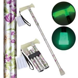 折たたみ式ステッキ 杖ぼたる 〔花柄〕 蓄光タイプ 長さ5段階調節可佐川急便で発送します|s-waza