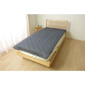 【商品名】 デニム調 敷きパッド/寝具 【ネイビー】 約100cm×205cm シングル 洗える 接...