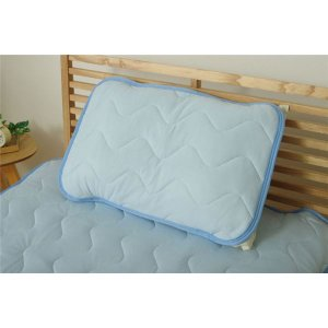【商品名】 なめらか 枕パッド/寝具 【ブルー】 約43cm×63cm 洗える 接触冷感 『モコ 枕...
