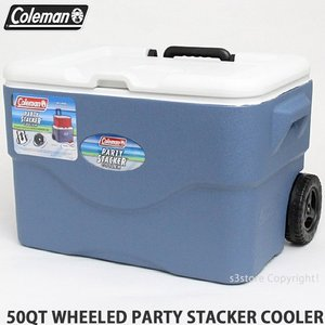 コールマン 50QT ウィール パーティ スタッカー クーラー クーラーボックス COLEMAN 50QT WHEELED PARTY STACKER COOLER COL:BLU サイズ:約47L|s3store