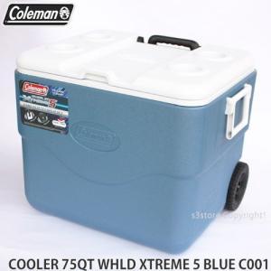 コールマン 75QT エクストリーム 5 ウィール クーラー 【Coleman 75QT XTREME 5 WHEELED COOLER】 アウトドア キャンプ 釣り バーベキュー BLUE サイズ:70L|s3store