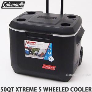 コールマン 50QT エクストリーム 5 ウィール クーラー クーラーボックス COLEMAN 50QT XTREME 5 WHEELED COOLER アウトドア キャンプ フェス カラー:BLK/GRY|s3store