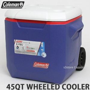 コールマン 45QT ウィール クーラー クーラーボックス COLEMAN 45QT WHEELED COOLER アウトドア カラー:BLUE/RED/WHITE サイズ:約42L|s3store