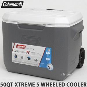 コールマン エクストリーム 5 ウィール クーラー クーラーボックス COLEMAN 50QT XTREME 5 WHEELED COOLER アウトドア キャンプ カラー:GRAY サイズ:約47L|s3store