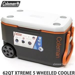 コールマン 62QT エクストリーム 5 ウィール クーラー クーラーボックス COLEMAN 62QT XT5 WHEELED COOLER アウトドア カラー:GRY/ORG/GRY|s3store