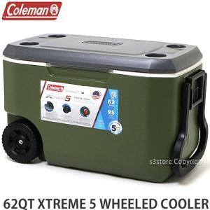 コールマン エクストリーム 5 ウィール クーラー COLEMAN 62QT XTREME 5 WHEELED COOLER アウトドア 保冷 カラー:OLIVE サイズ:62QT|s3store