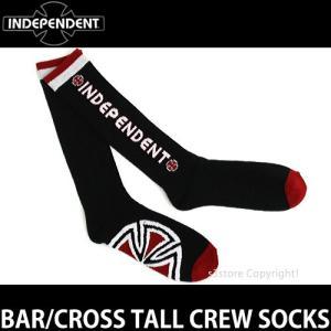 インディペンデント バー/クロス トール クルーソックス 【INDEPENDENT BAR/CROSS TALL CREW SOCKS】 スケートボード スケボー 靴下 メンズ SKATE カラー:BLACK|s3store