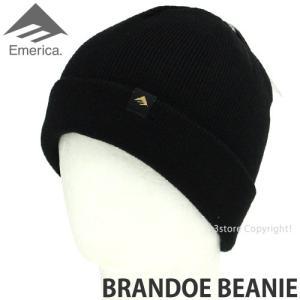 エメリカ ブランド ビーニー Emerica BRANDOE BEANIE スケートボード SKATEBOARD ニット ワッチ 2つ折り 帽子 コーディネート Color:BLACK s3store