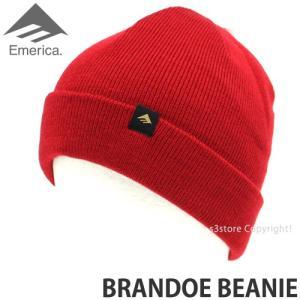 エメリカ ブランド ビーニー Emerica BRANDOE BEANIE スケートボード SKATEBOARD ニット ワッチ 2つ折り 帽子 コーディネート Color:RED s3store