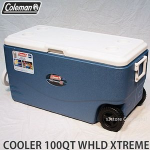 COLEMAN 100QT XTREME 5 WHEELED COOLER 【コールマン エクストリーム 5 ウィール クーラー】 アウトドア キャンプ フェス BBQ 海水浴 バーベキュー カラー:BLUE|s3store