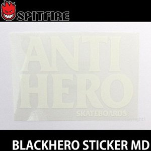 アンタイヒーロー ブラックヒーロー ロゴ ミディアム ANTIHERO Blackhero Sticker MD スケートボード ステッカー アンチヒーロー カラー:White サイズ:M s3store
