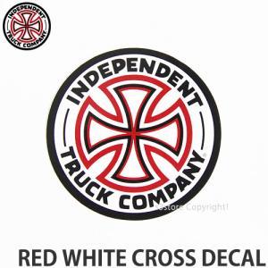 インディペンデント レッド ホワイト クロス ディケール INDEPENDENT RED WHITE CROSS DECAL スケートボード ロゴ ステッカー ジムフィリップス 直径::7.5cm|s3store