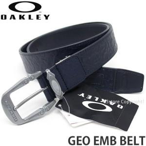 オークリー ジオ エンボス ベルト 【OAKLEY GEO EMB BELT】 レザー メタルバックル アウトドア フェス スポーツ カラー:Navy Blue|s3store