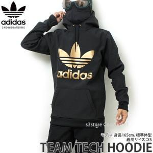 18 アディダス チームテック フーディー adidas Snowboarding TEAM TECH HOODIE 17-18 スノーボード ウェア パーカー 撥水 col:Black/Gold|s3store