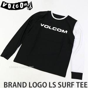 ボルコム ブランド ロゴ ロングスリーブ サーフ ティー VOLCOM BRAND LOGO LS SURF TEE メンズ ラッシュガード 日焼け カラー:BLK|s3store