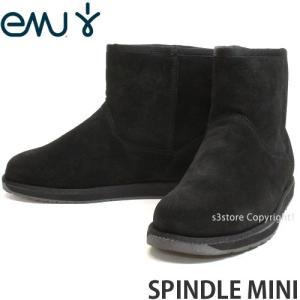 エミュー スピンドル ミニ emu SPINDLE MINI 国内正規品 レディース ブーツ ムートン 牛革 スウェード メリノウール カラー:BLACK|s3store