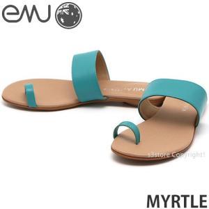 エミュー マーテル emu MYRTLE サンダル 靴 レディース 女性 フラット ぺったんこ 牛皮 レザー ファッション コーデ カラー:Lagoon Green|s3store