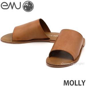 エミュー モーリー emu MOLLY サンダル 靴 レディース 女性 フラット ぺったんこ 牛皮 レザー ファッション コーデ カラー:Tobacco Brown|s3store